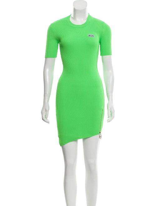 Gcds Rib-Knit Mini Dress Green