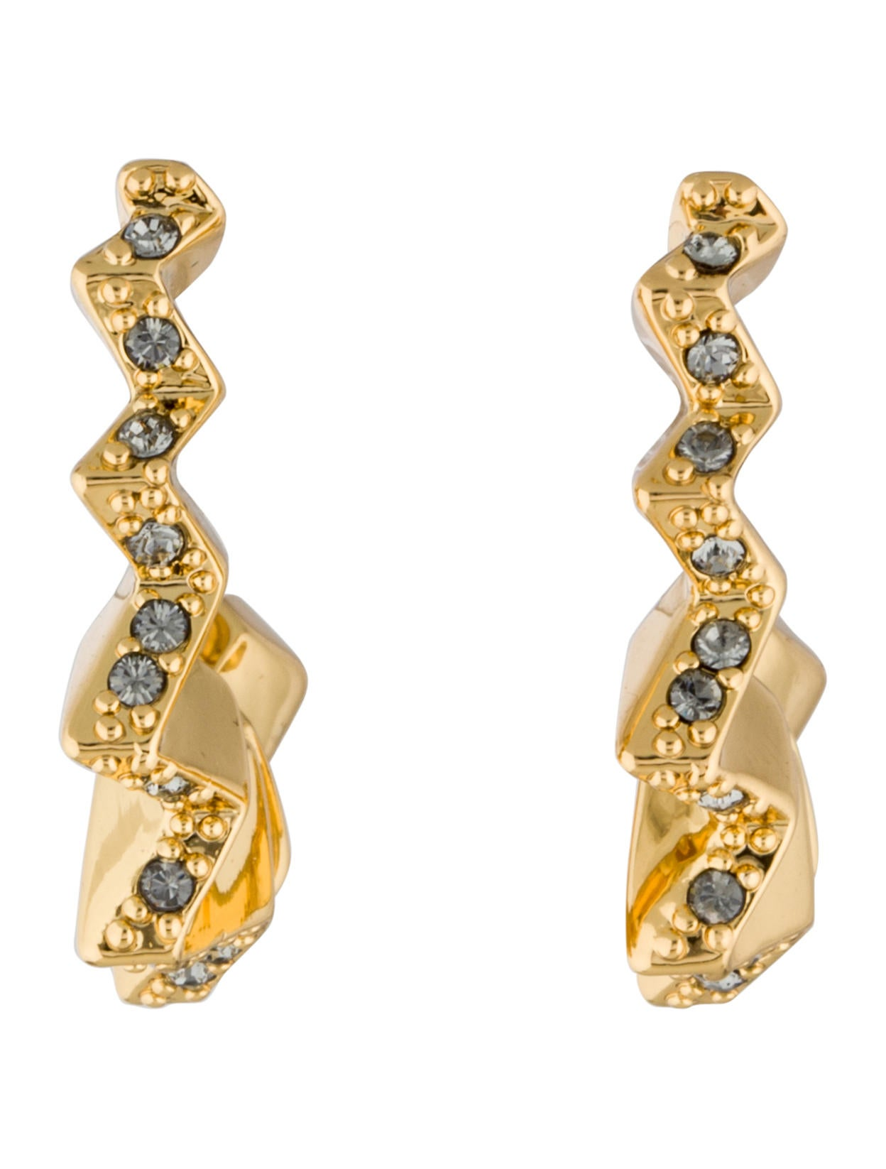 Crystal Ray Zig Zag Hoop Earrings