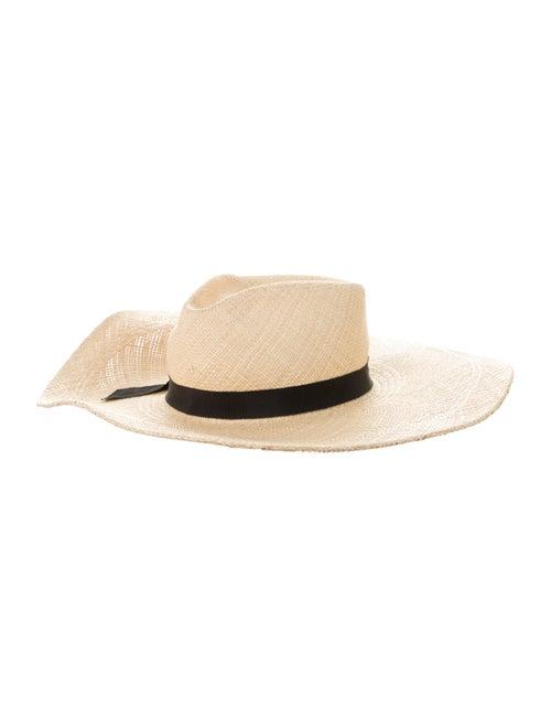 Gladys Tamez Straw Wide-Brim Hat Beige