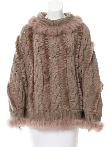 Glamourpuss Fur-Trimmed Knit Poncho w/ Tags None