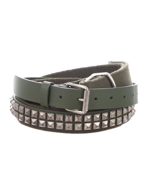 Gosha Rubchinskiy Studded Leather Belt olive