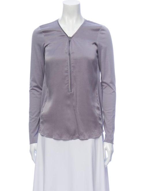Go Silk Silk V-Neck Button-Up Top Purple