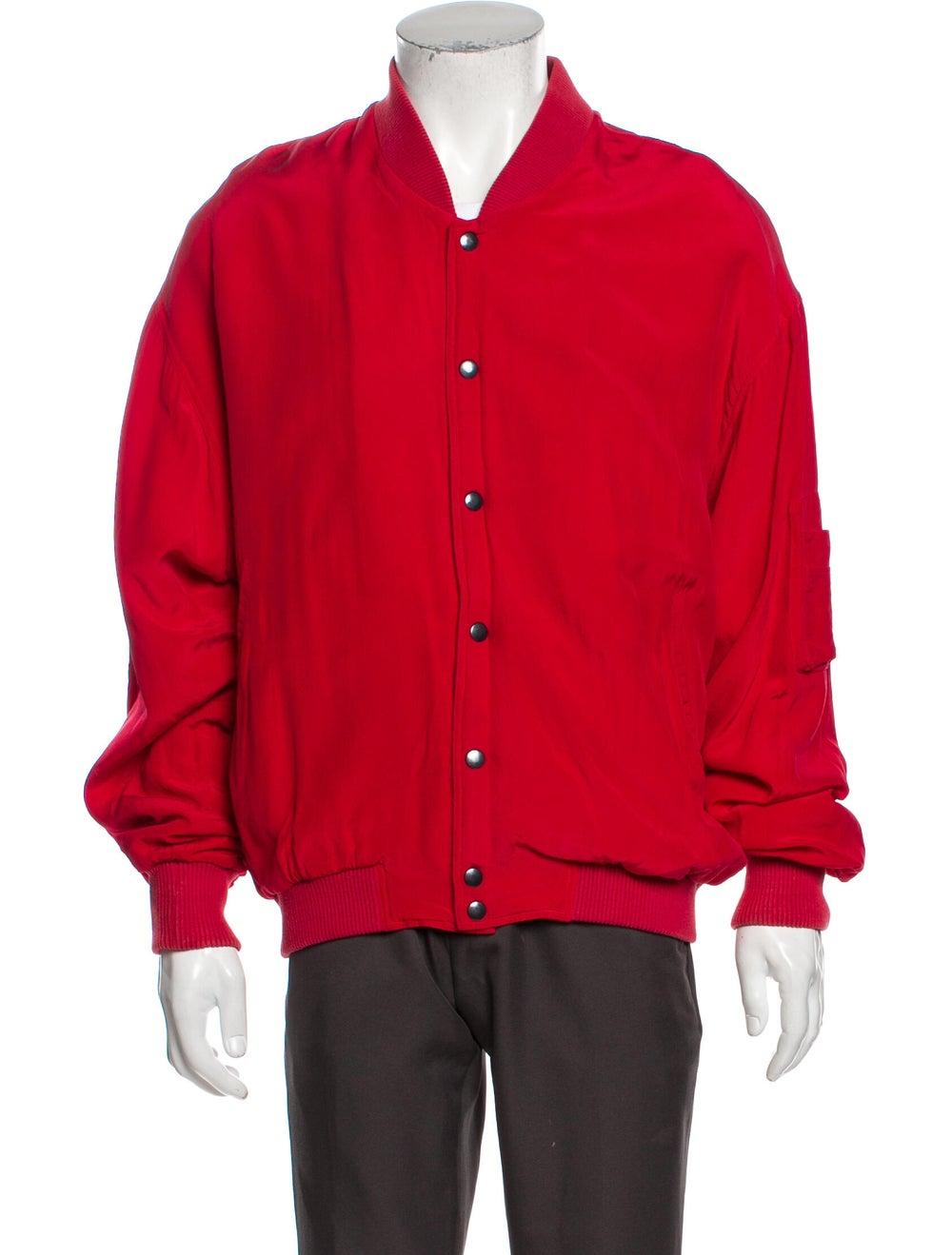 Go Silk Silk Bomber Jacket Red - image 1
