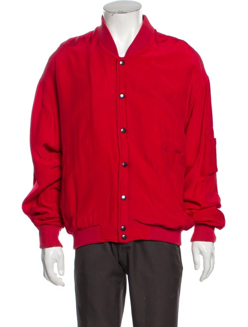 Go Silk Silk Bomber Jacket Red