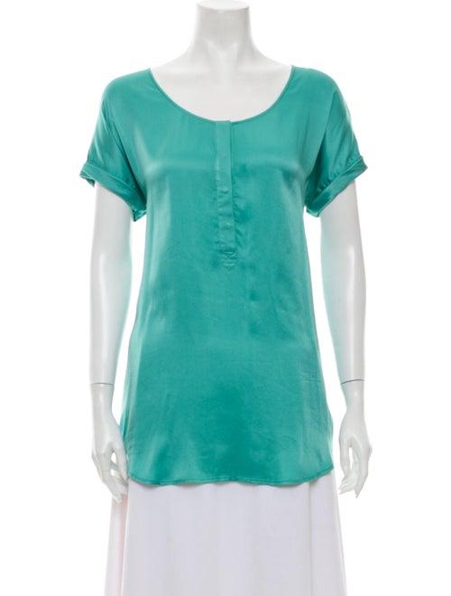 Go Silk Silk Scoop Neck T-Shirt Green - image 1