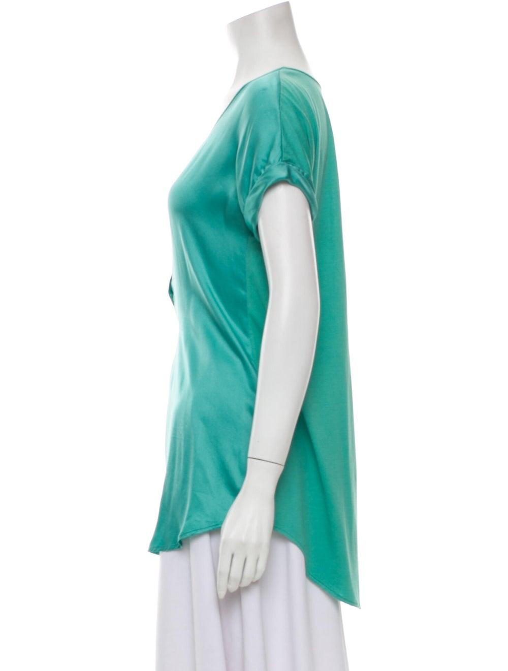 Go Silk Silk Scoop Neck T-Shirt Green - image 2