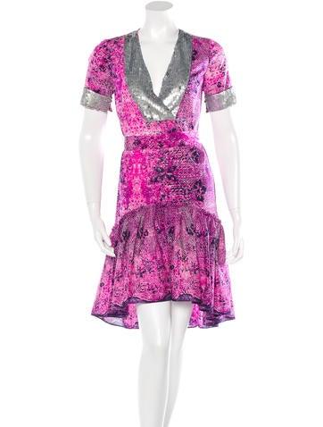 Gryphon Silk Printed Drop Waist Dress None