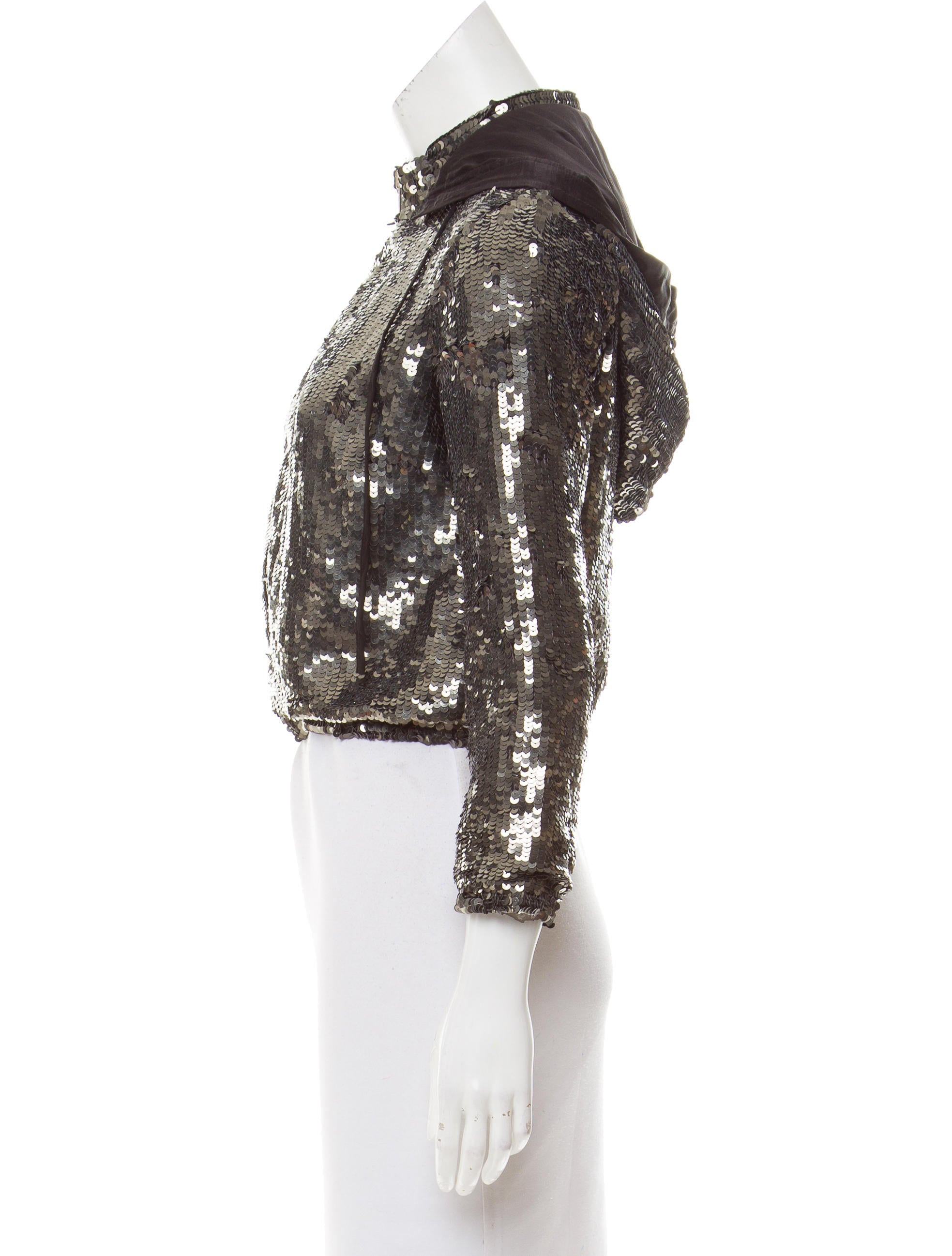 Sexy black long sleeve jacket with sequined hood, front zipper and sequin pockets with satin details. (Shorts not included.).