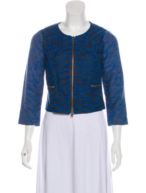 Gryphon Zebra Print Crop Jacket Blue