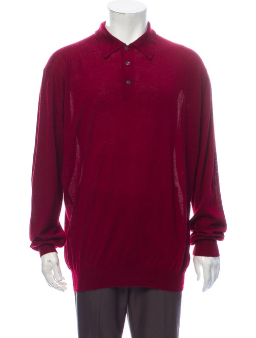 Gran Sasso Cashmere Collar Polo Sweater Red