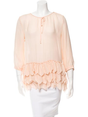 The Great Long Sleeve Ruffle-Trimmed Top