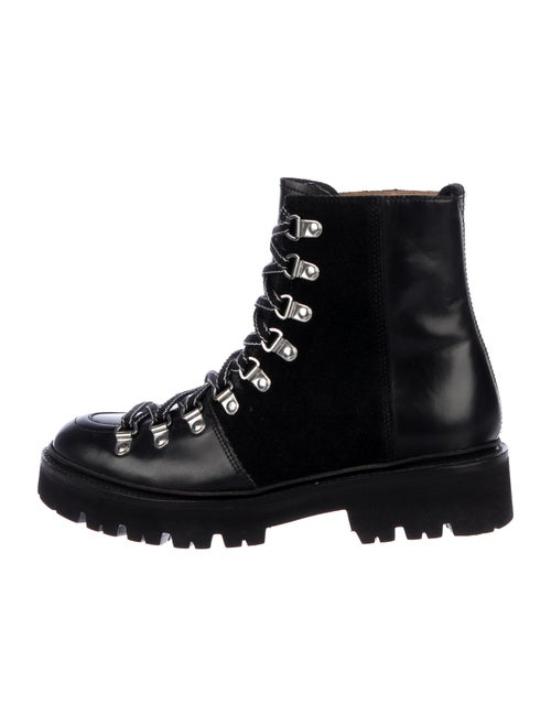 Grenson Leather Combat Boots Black
