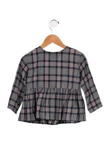 Il Gufo Girls' Plaid Long Sleeve Top