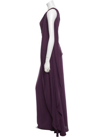 Pleat-Accented One-Shoulder Gown