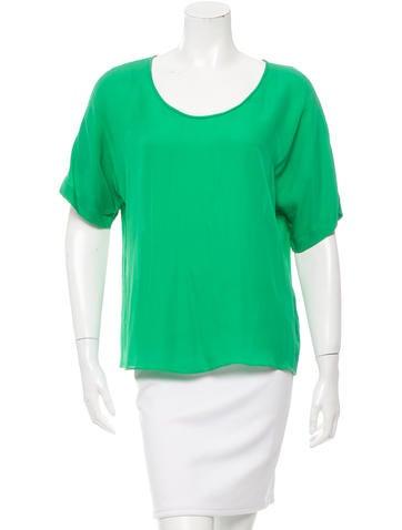 Halston Heritage Short Sleeve Silk Top