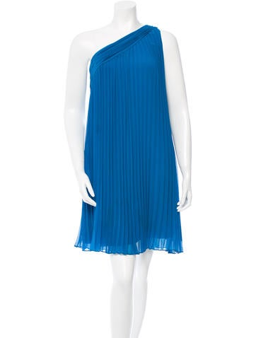 Halston Heritage Pleated One-Shoulder Dress None