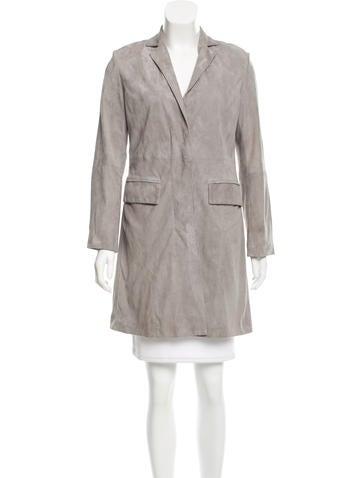 Halston Heritage Suede Long Jacket