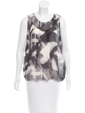 Halston Heritage Silk Printed Top w/ Tags