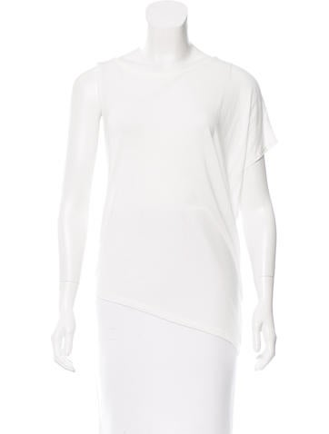 Halston Heritage Scoop Neck Asymmetrical Top None