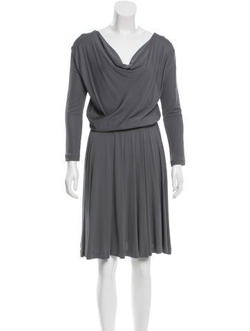 Halston Heritage Long Sleeve Midi Dress None