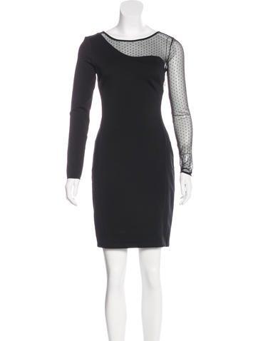 Halston Heritage Mesh Paneled Mini Dress None