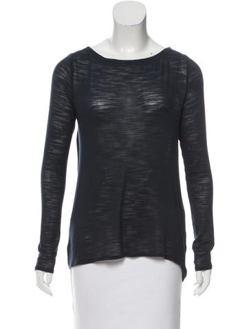 Halston Heritage Long Sleeve High-Low Top None