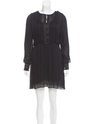 Halston Heritage Pleated Silk Dress None