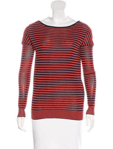 Halston Heritage Striped Rib Knit Sweater None