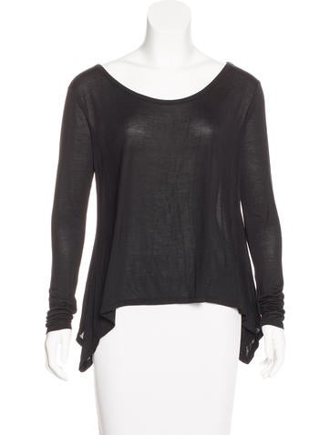 Halston Heritage Scoop Neck Long Sleeve Top None