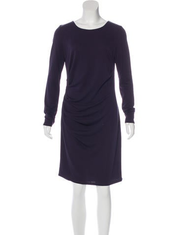 Halston Heritage Gathered Long Sleeve Dress None