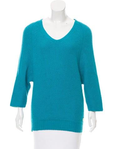 Halston Heritage Silk-Blend V-Neck Sweater None