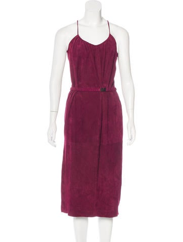 Halston Heritage Sleeveless Suede Dress None