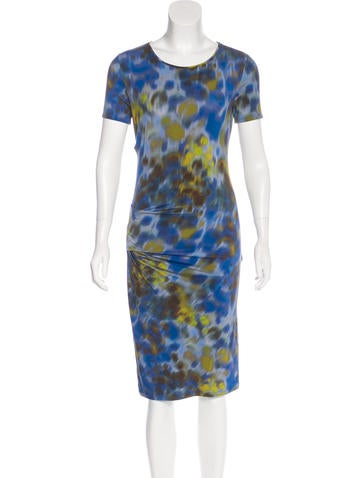 Halston Heritage Short Sleeve Printed Dress None