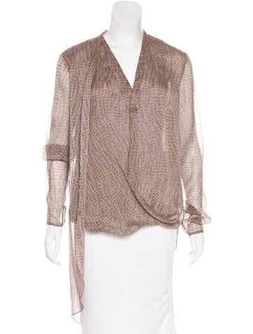 Halston Heritage Draped Long Sleeve Top None