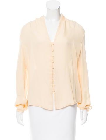 Halston Heritage Silk Long Sleeve Blouse None