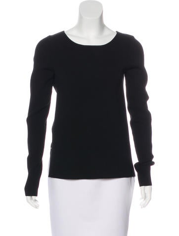Halston Heritage Rib Knit Woven Sweater None