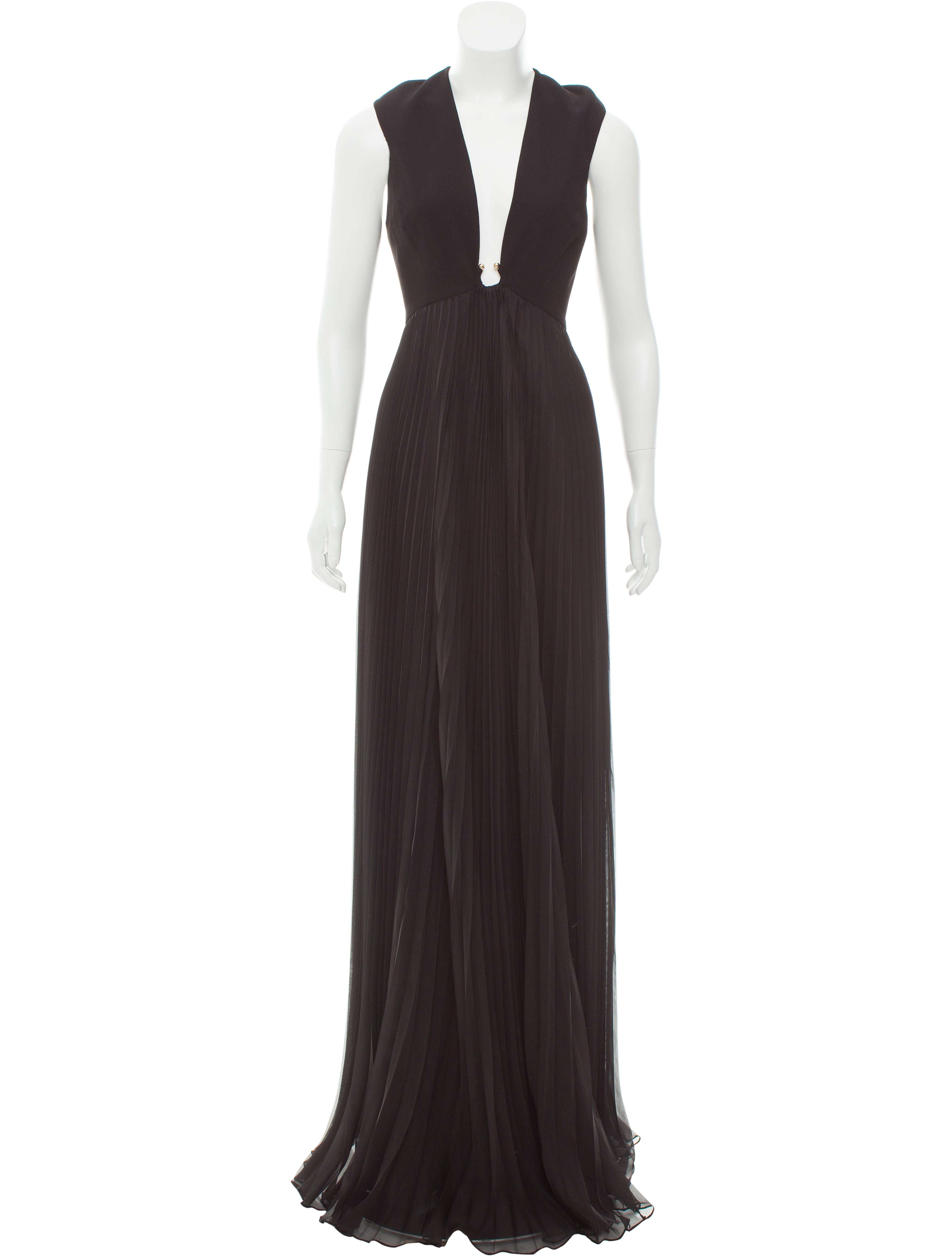 Halston Heritage Pleated Evening Dress w/ Tags - Clothing - WH126860 ...