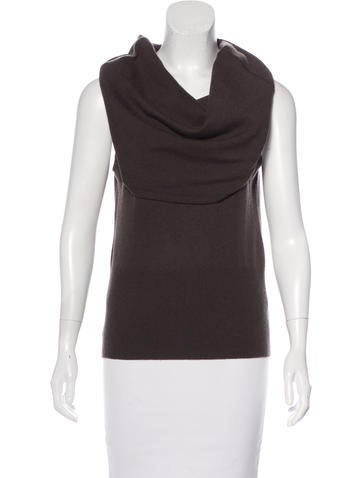 Halston Heritage Wool & Cashmere-Blend Sleeveless Top None