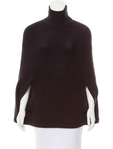 Halston Heritage Wool Rib Knit Poncho None