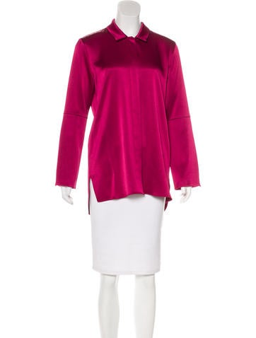 Halston Heritage Satin Long Sleeve Top None