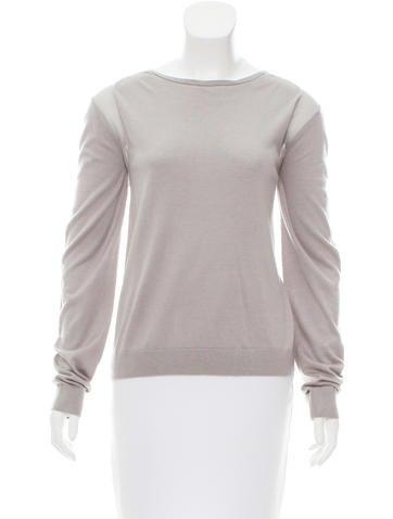 Halston Heritage Silk-Accented Scoop Neck Sweater None