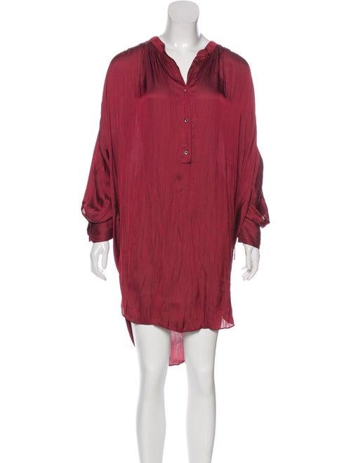 Halston Heritage Satin Long Sleeve Dress