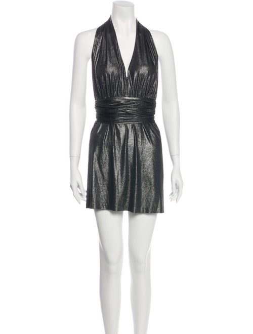 Halston Heritage Halterneck Mini Dress Metallic