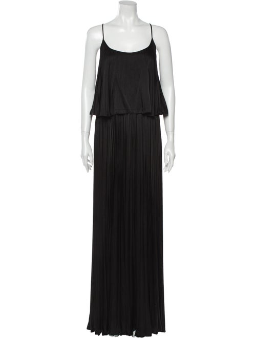 Halston Heritage Silk Long Dress Black
