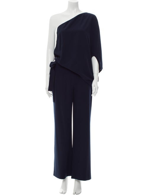 Halston Heritage One-Shoulder Jumpsuit Blue