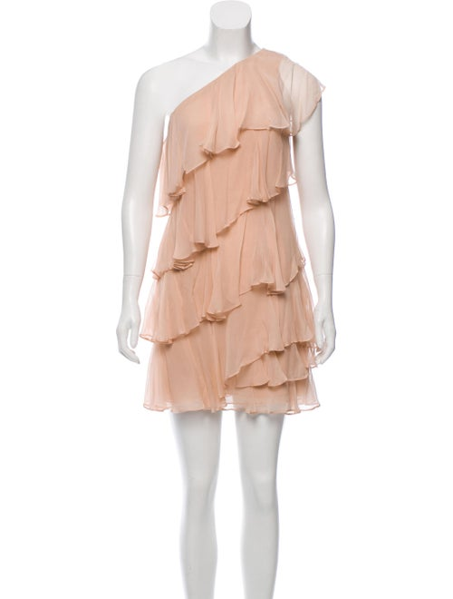 Halston Heritage One-Shoulder Ruffle-Accented Dres
