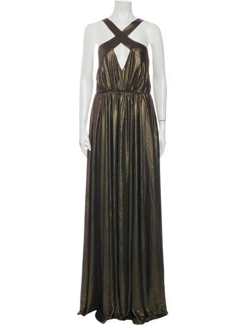 Halston Heritage Halterneck Long Dress Gold