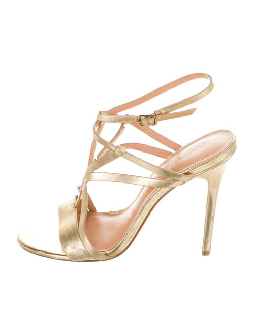 Halston Heritage Leather Sandals Gold