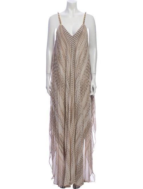 Halston Heritage Striped Long Dress