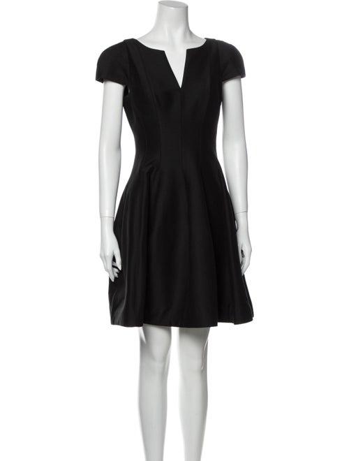Halston Heritage V-Neck Mini Dress Black